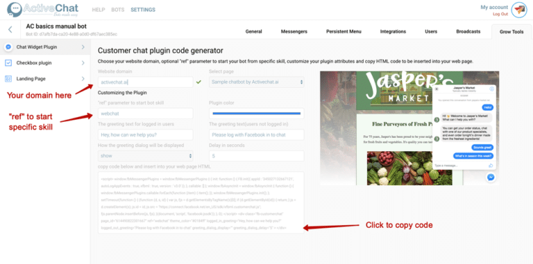 Chat widget plugin | Visual chatbot builder | ActiveChat ai