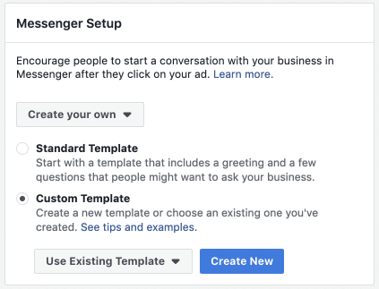 facebook ads messenger setup