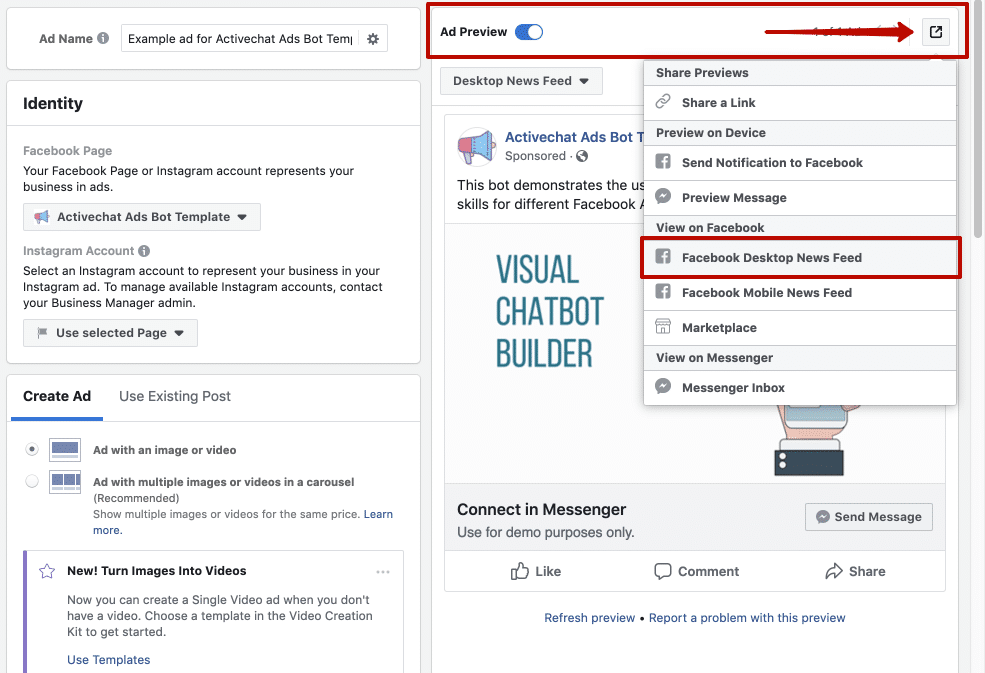 facebook ads chatbot preview