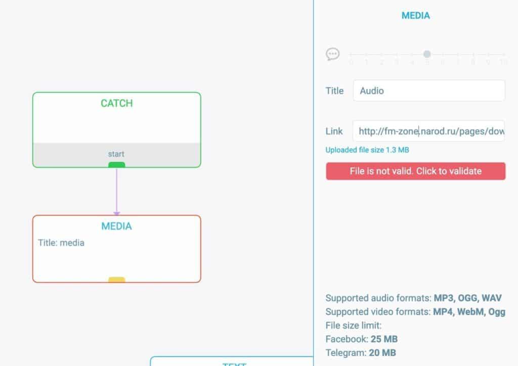 Media and File blocks | Visual chatbot builder | ActiveChat ai